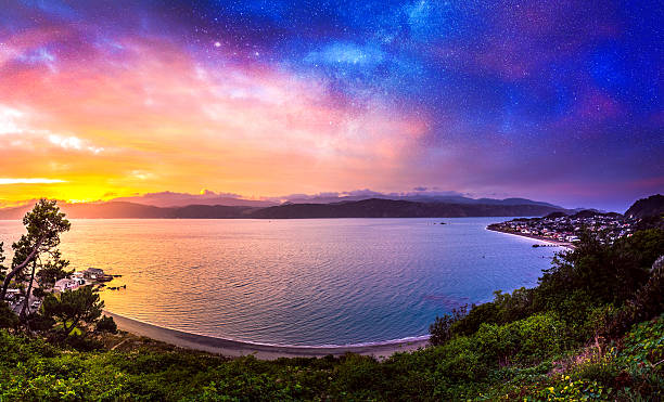 Sunrise of Seatoun in Wellington, New Zealand Sunrise of Seatoun in Wellington, New Zealand wellington new zealand stock pictures, royalty-free photos & images