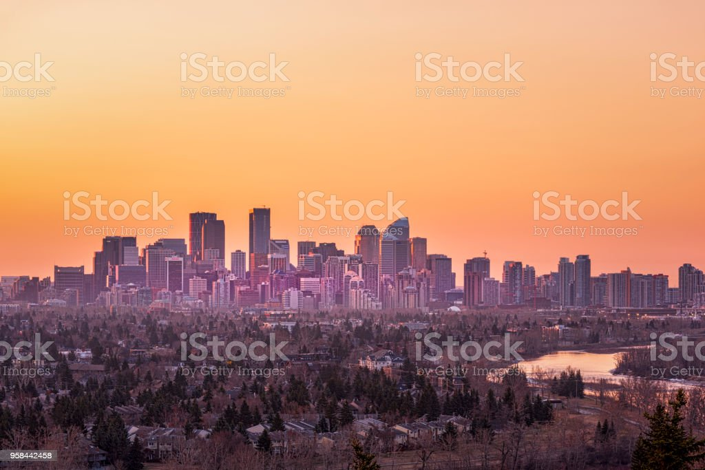 Sunrise Of The City Of Calgary Stock Photo Download Image