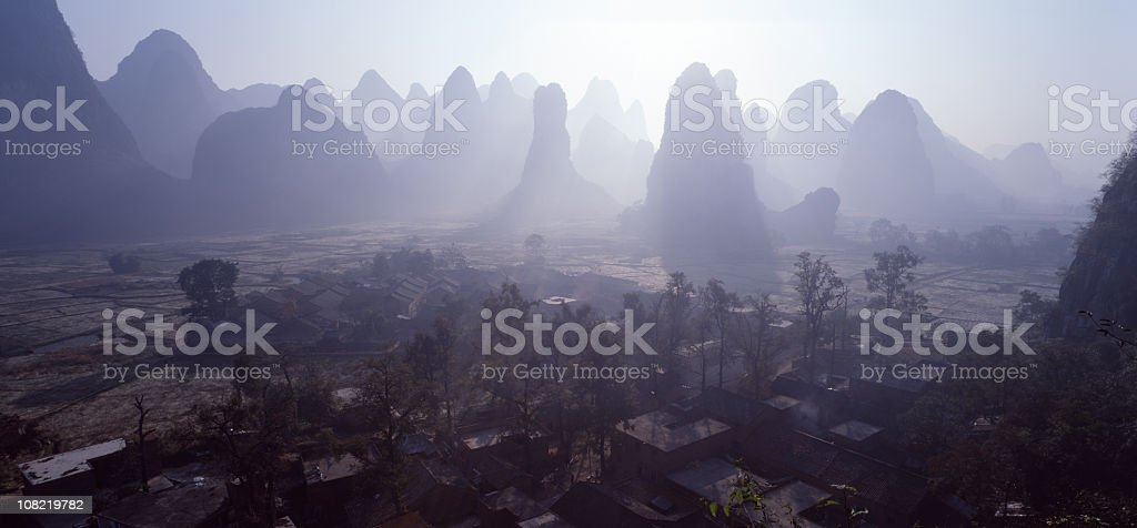 Sunrise of the peaks and hills stock photo