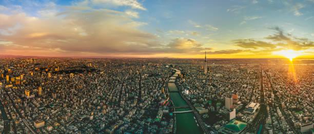 Sonnenaufgang des Stadtbildes von Tokio, Japan – Foto
