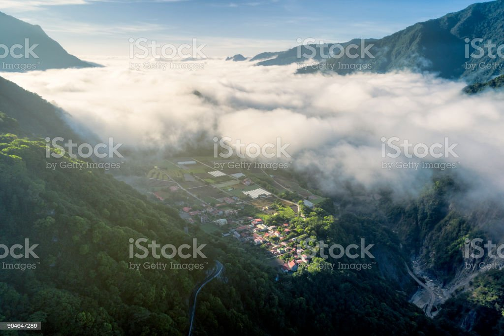 Sunrise of valley and village in Kuanshan, Taitung, Taiwan royalty-free stock photo