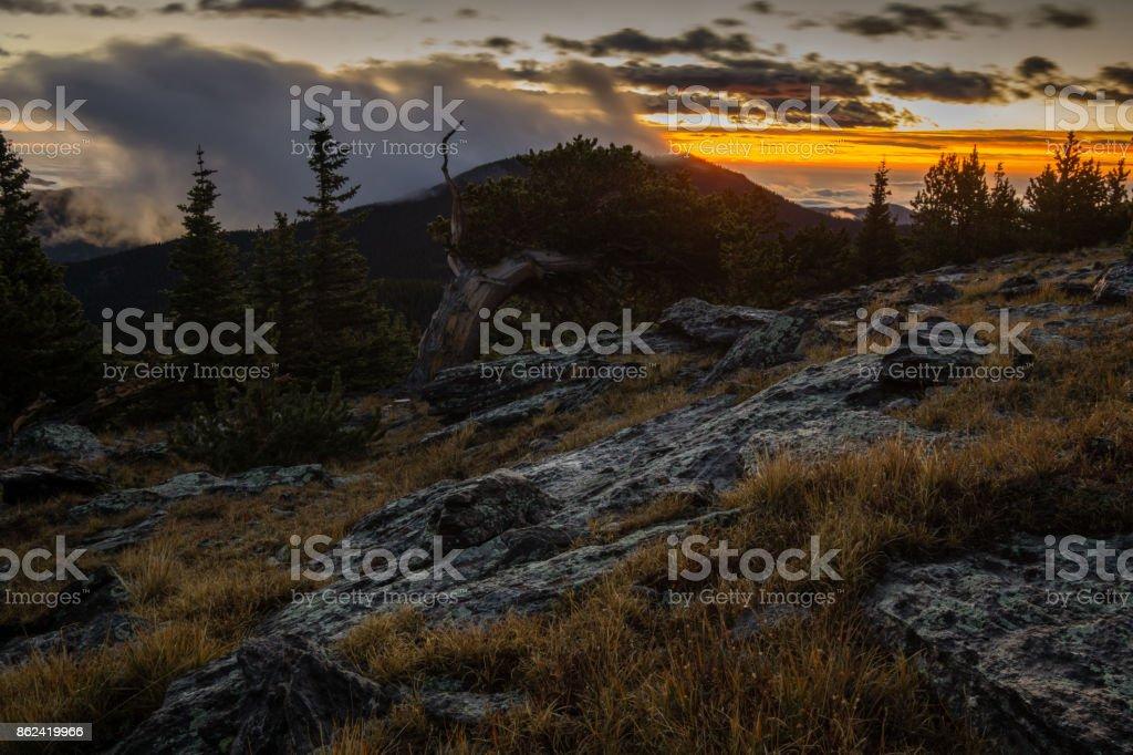 Sunrise on a Colorado Mountain stock photo