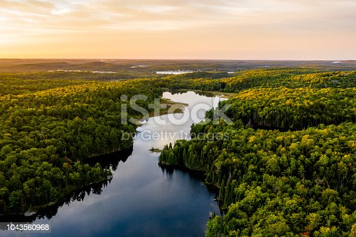 Lake in warm morning light from an aerial view