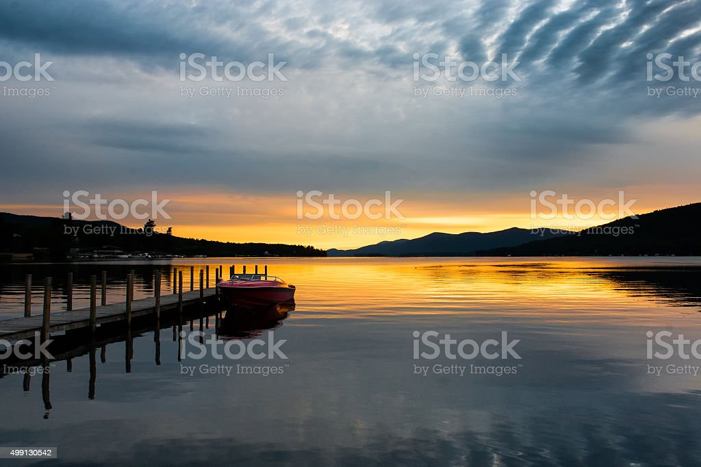 Sunrise on a Lake stock photo