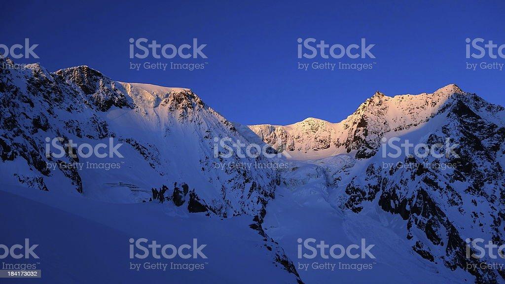 Sunrise on a mountain ridge stock photo