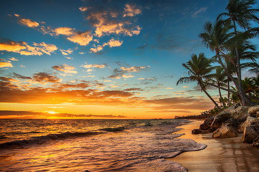 Sunrise on a tropical island. Landscape of paradise tropical isl