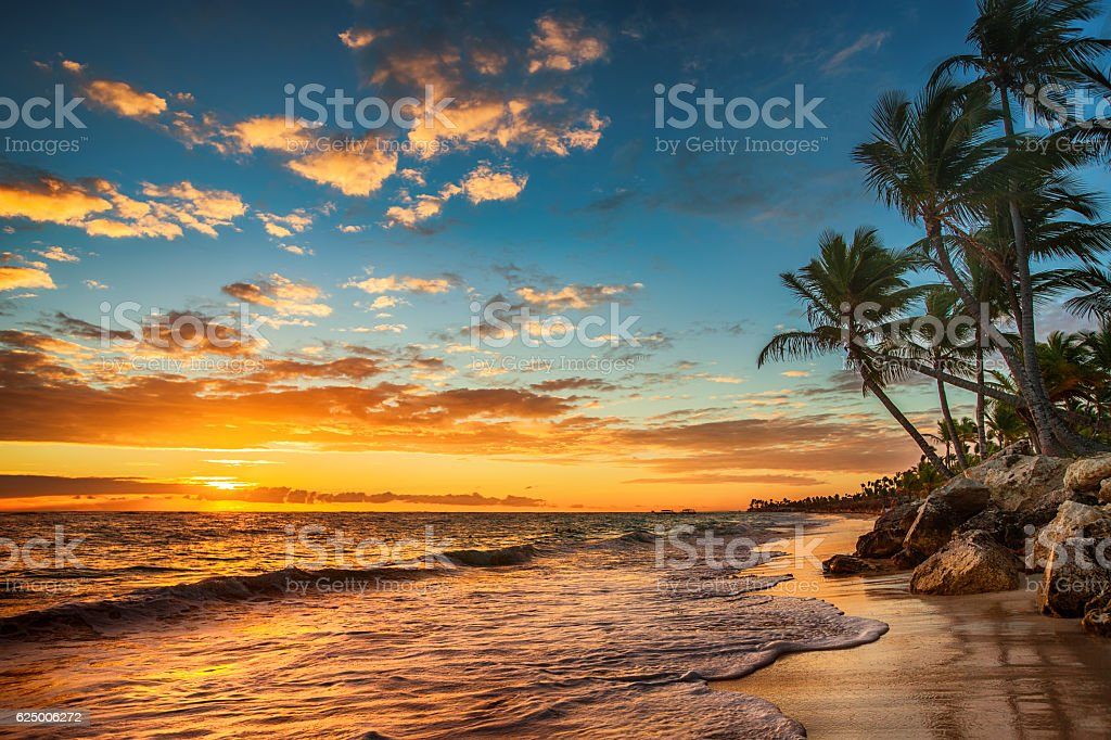Sunrise on a tropical island. Landscape of paradise tropical isl stock photo