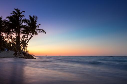 Sunrise on a tropical island, sunset shot