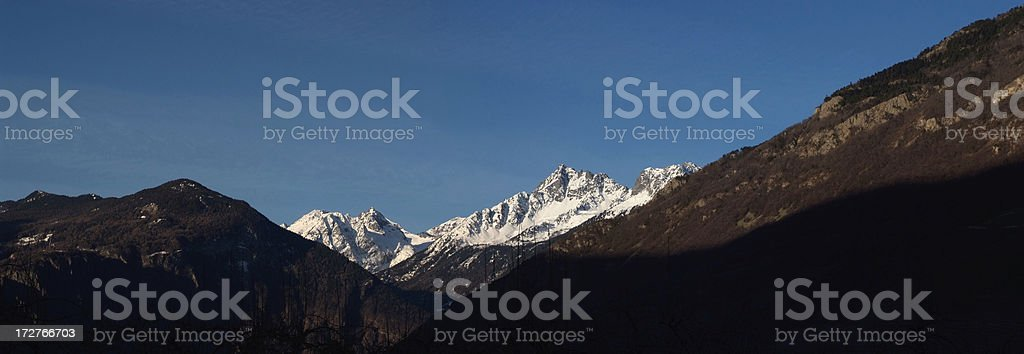 Sunrise on Alps from Rhône Valley royalty-free stock photo