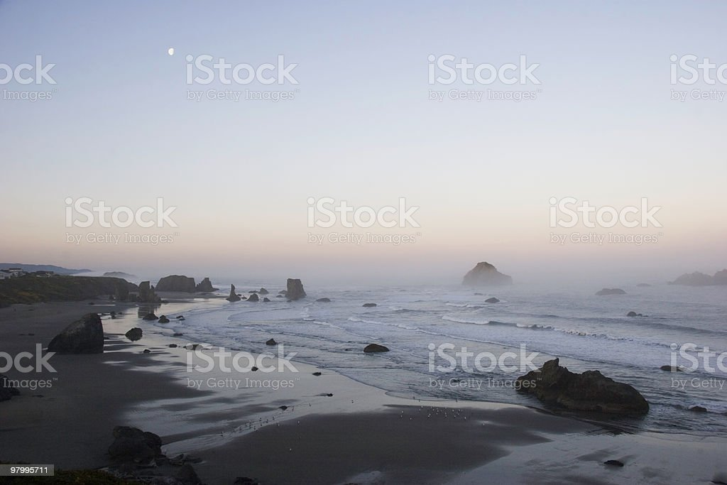 Sunrise on Bandon Beach royalty free stockfoto