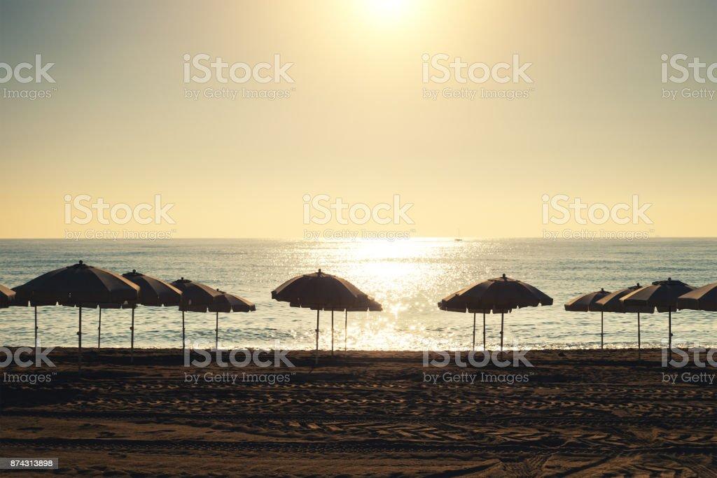 Sunrise On Barceloneta Beach stock photo