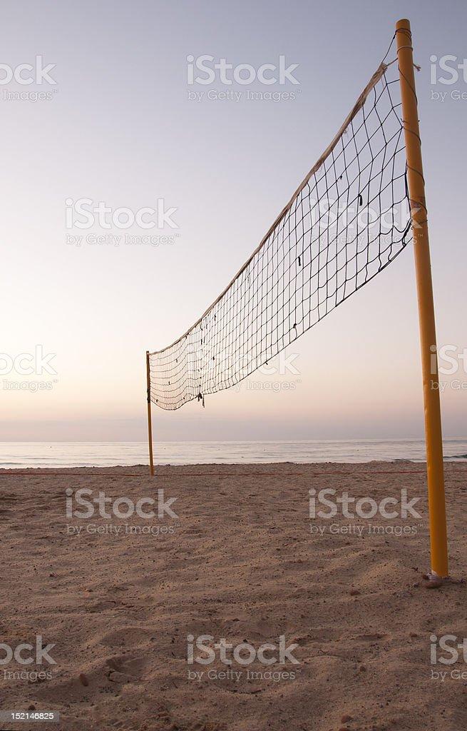 Sunrise on Beachvolley field royalty-free stock photo
