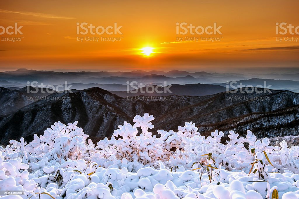 Sunrise on Deogyusan mountains covered with snow in winter,Korea stock photo