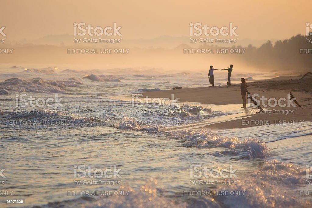 Sunrise on deserted beaches and coastline stock photo