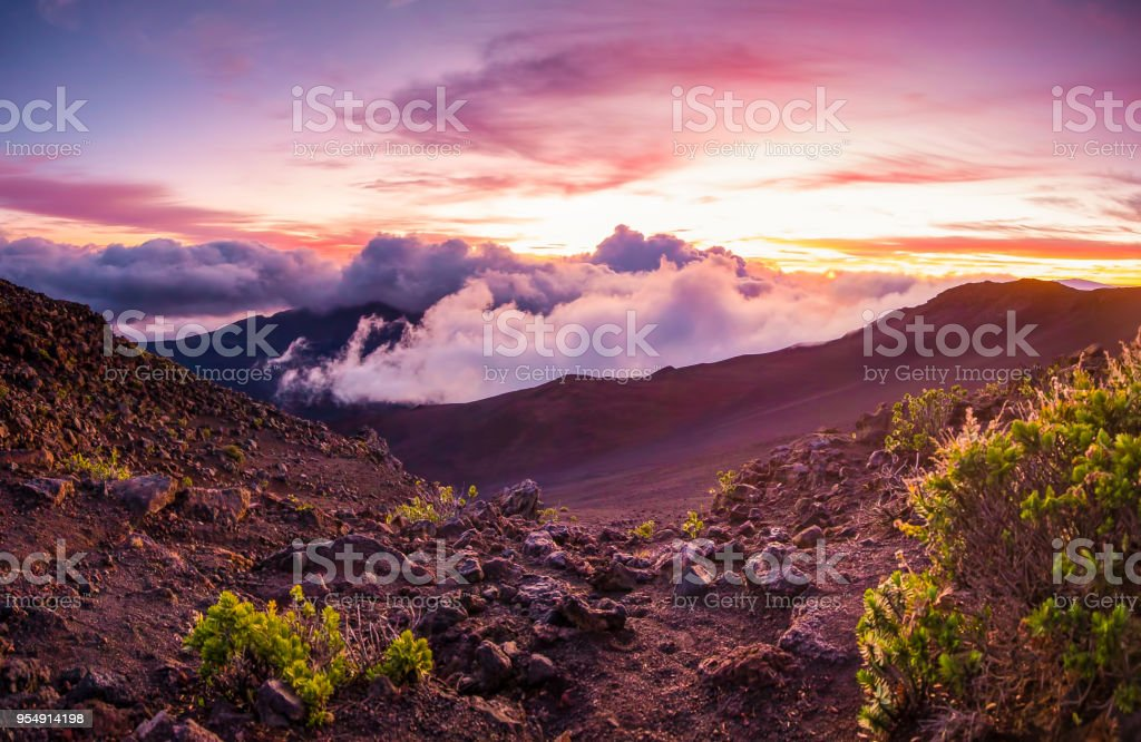 Sunrise on Haleakala stock photo