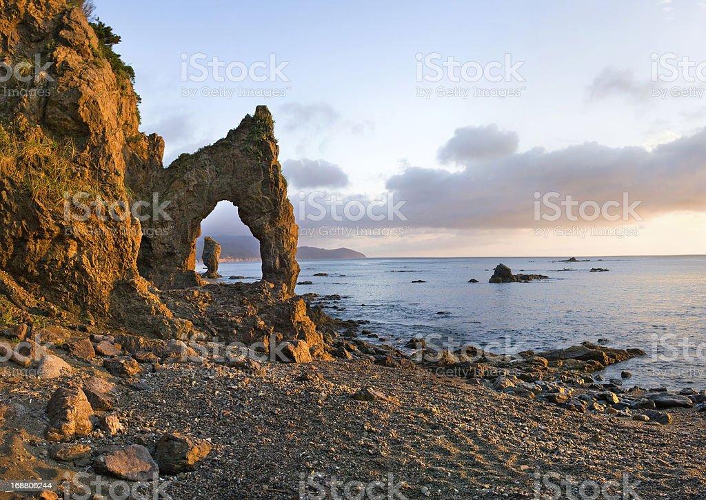 Sunrise on headland Velikan, island Sakhalin royalty-free stock photo