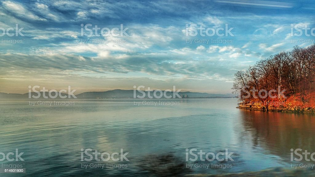 Sunrise on Hudson River, Reflection of Clouds, Catskills, Train View stock photo