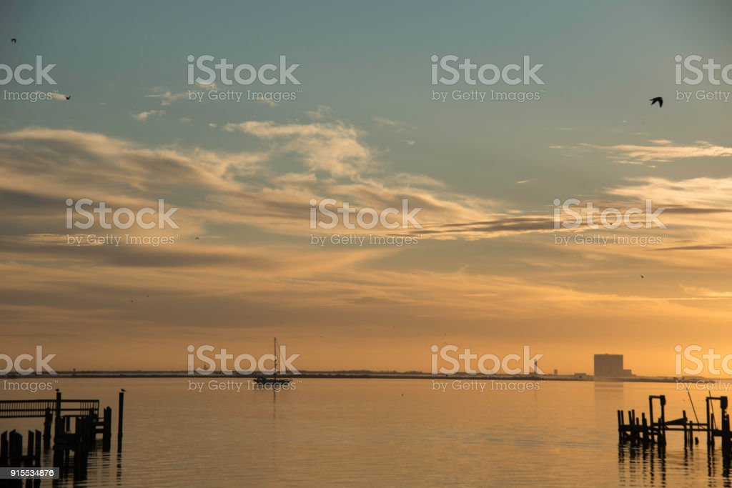 Sunrise on Indian River in Titusville, Florida stock photo