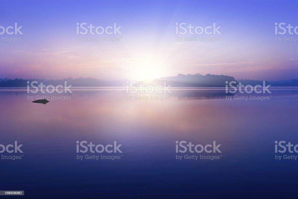 Sunrise on Lagoon stock photo