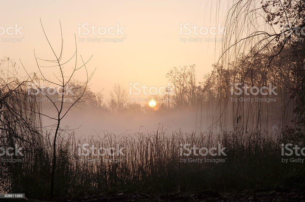 Sunrise on Lake Banyoles, Girona province, Spain stock photo