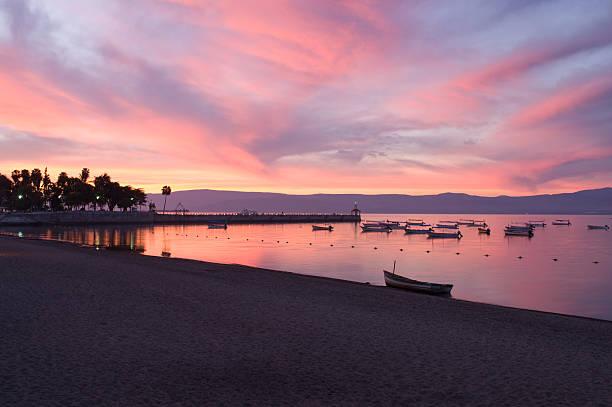 Sunrise on Lake Chapala Shores stock photo