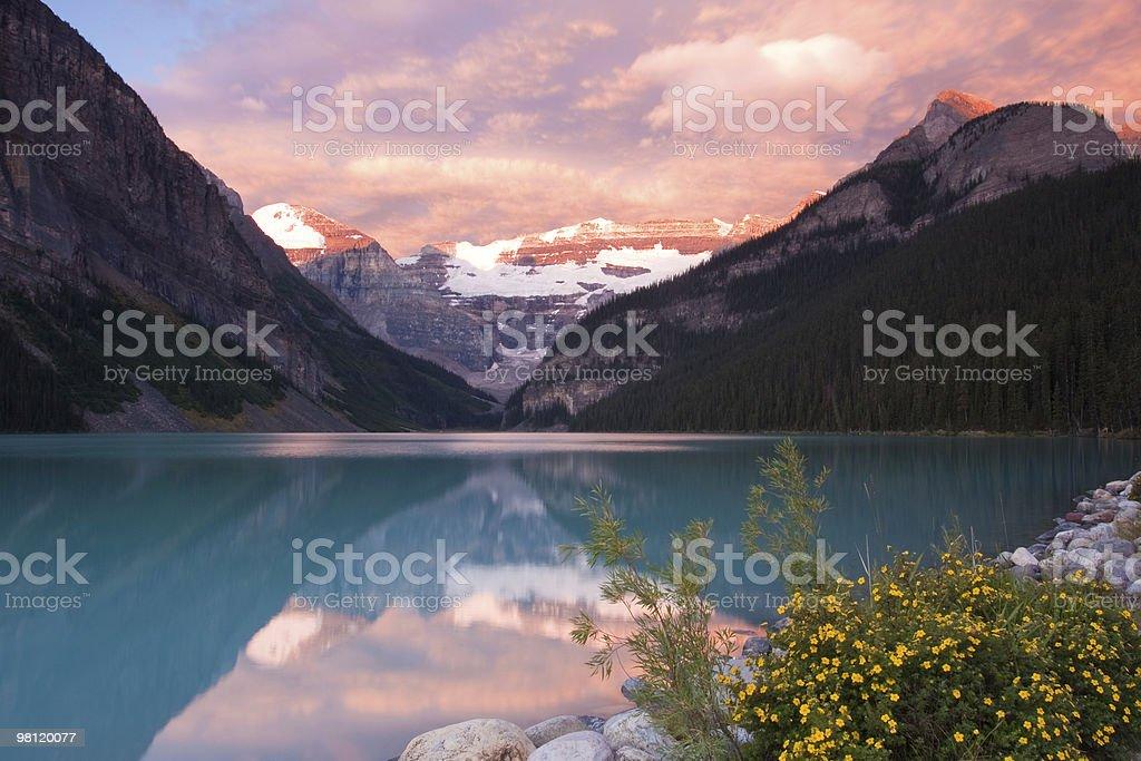 Sunrise on Lake Louise royalty-free stock photo