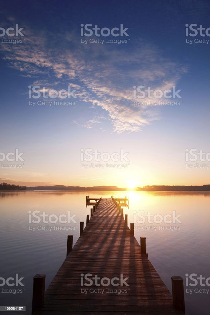 sunrise on lake stock photo