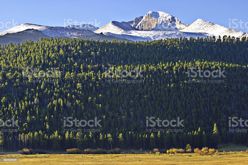 Sunrise On Longs Peak, Rocky Mountain National Park, Colorado royalty-free stock photo