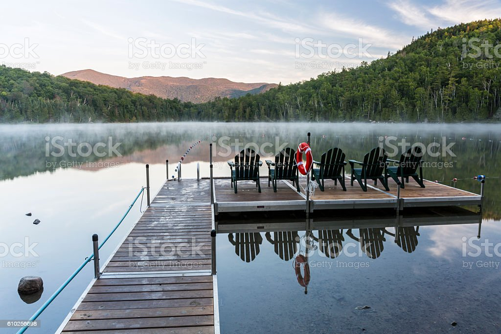 Sunrise on Misty Heart Lake stock photo
