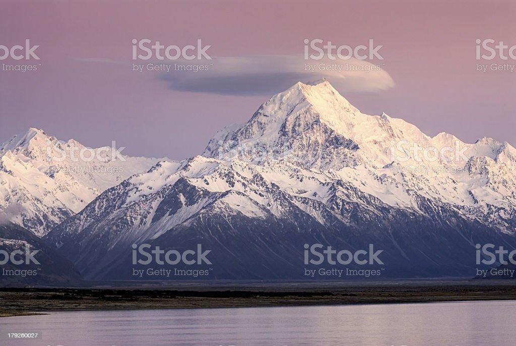 Sunrise on Mount Cook, New Zealand stock photo