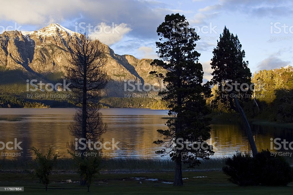 Sunrise on Nahuel Huapi (Bariloche) royalty-free stock photo
