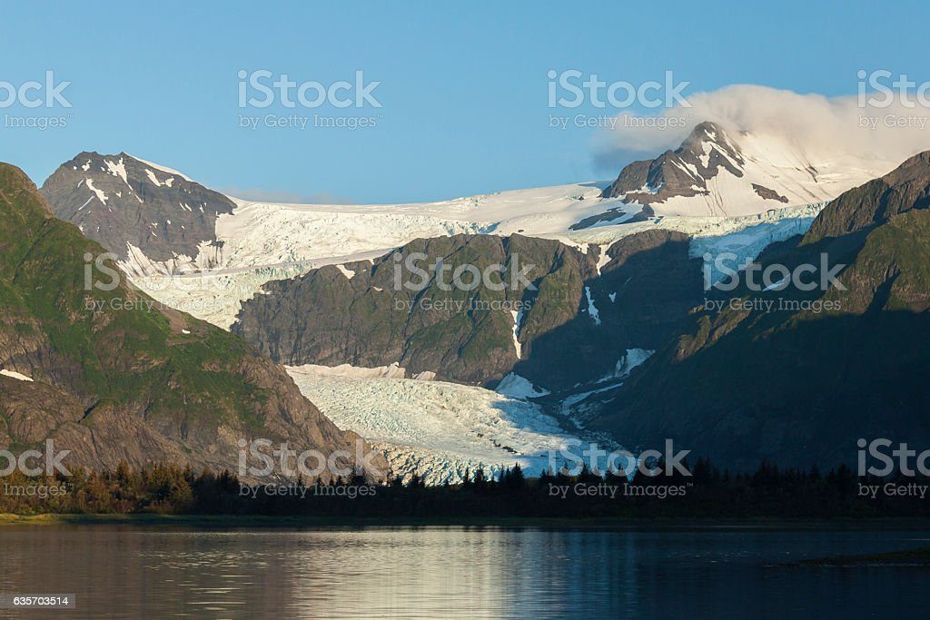 Sunrise on Pedersen Glacier, Kenai Fjords National Park, Alaska royalty-free stock photo