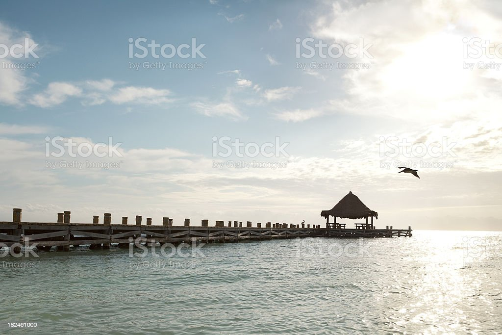 Sunrise On Puerto Morelo's Pier royalty-free stock photo