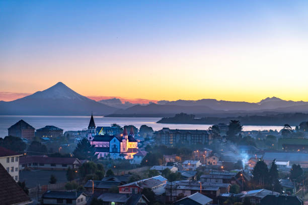 Sunrise on Puerto Varas stock photo