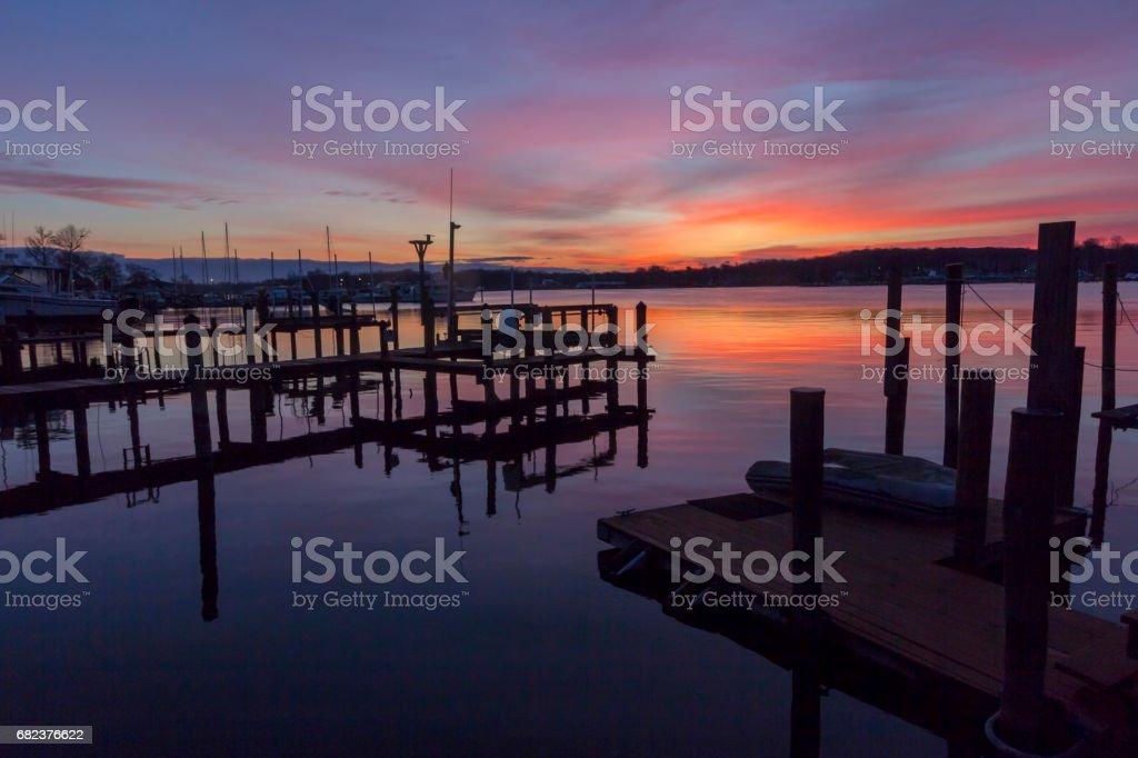 sunrise on Rock creek Maryland royalty free stockfoto