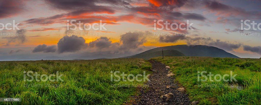Sunrise on Round Bald Panorama stock photo