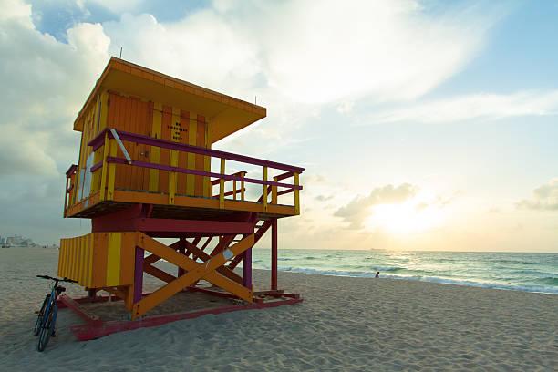 Sunrise on South Beach stock photo