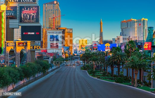 Las Vegas, NV, USA - October 10, 2014: Looking north on South Las Vegas Blvd during sunrise in Las Vegas, NV, USA.