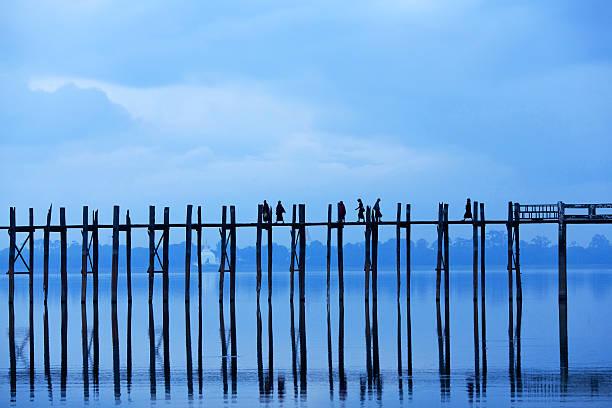 Sunrise on Taungthaman lake, Myanmar stock photo