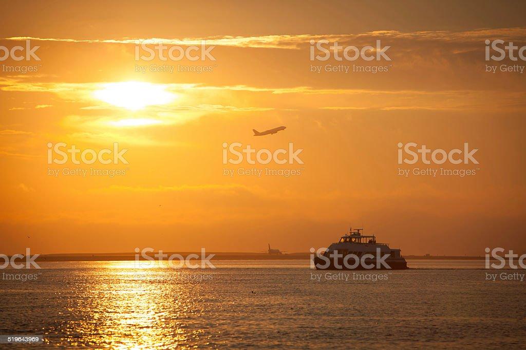 Sunrise on the bay in Boston. stock photo
