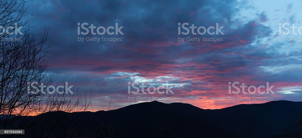 Sunrise on the Blue Ridge Parkway, Great Smoky Mountains stock photo