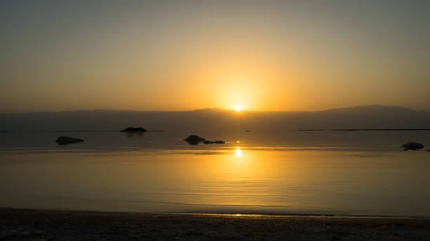 Sunrise on the Dead Sea stock photo