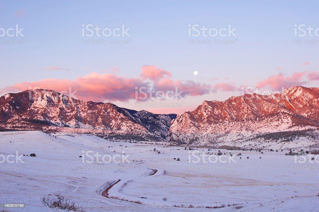 Sunrise on the Flatirons stock photo