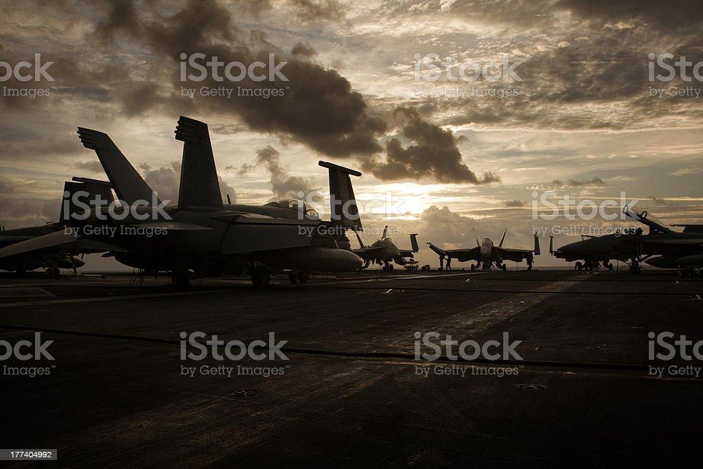 Sunrise on the flight deck stock photo