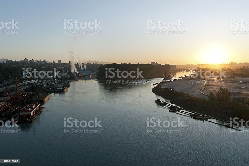 Sunrise on the Fraser River royalty-free stock photo