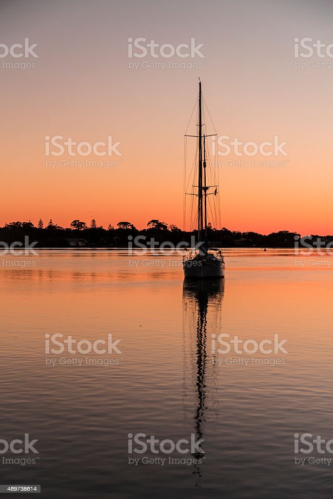 sunrise on the harbour stock photo