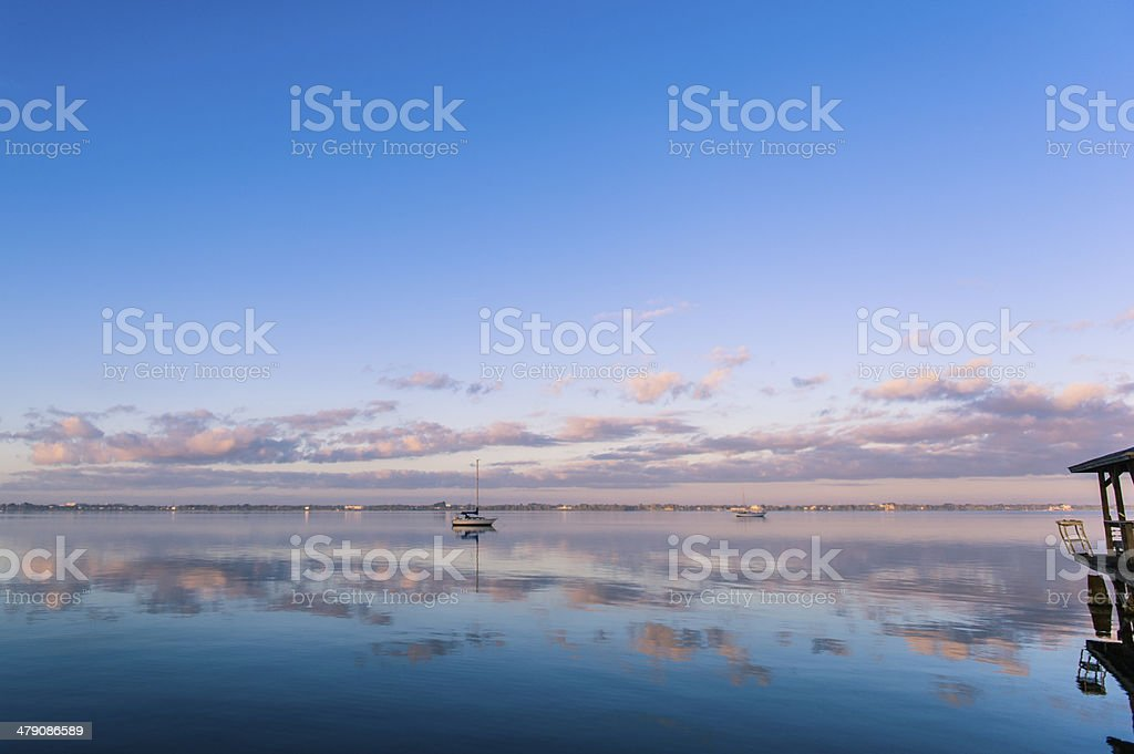 Sunrise on the Indian River in Florida stock photo