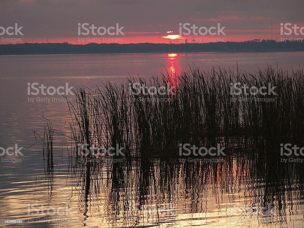 Sunrise on the lake stock photo