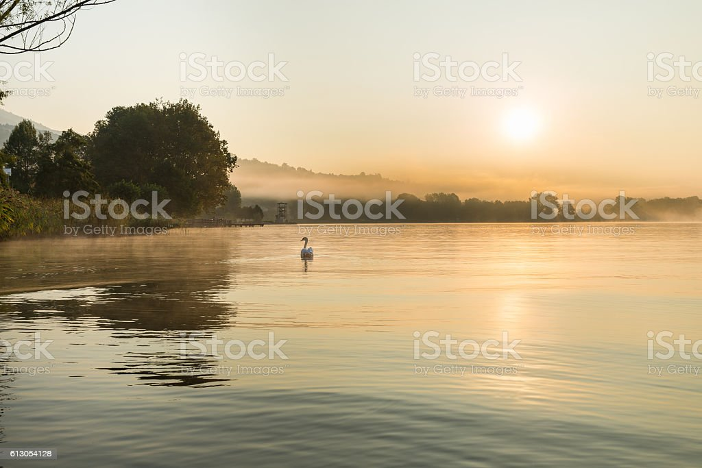 Sunrise on the lakeside of Gavirate and Varese lake stock photo