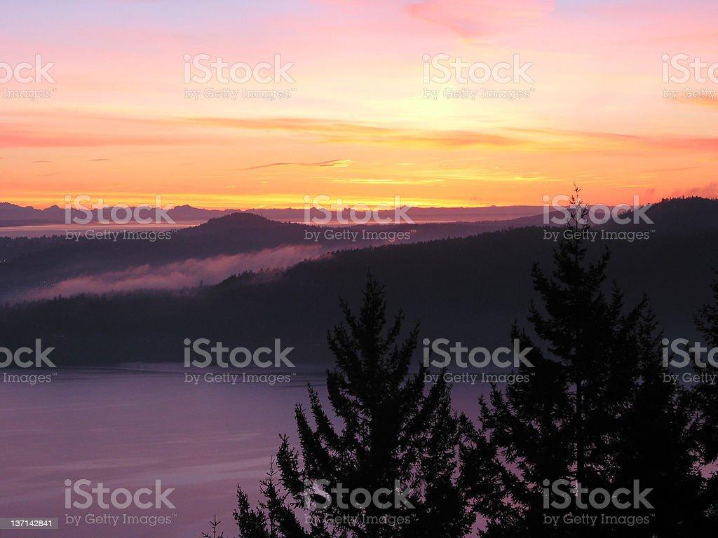 Sunrise on the Malahat, British Columbia stock photo